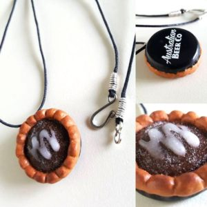 Bottle cap chocolate pie necklace