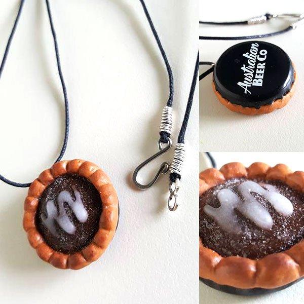 Bottle cap chocolate pie necklace
