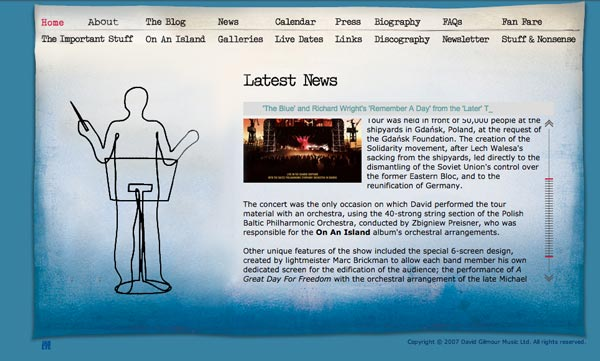 David Gilmour website 2008