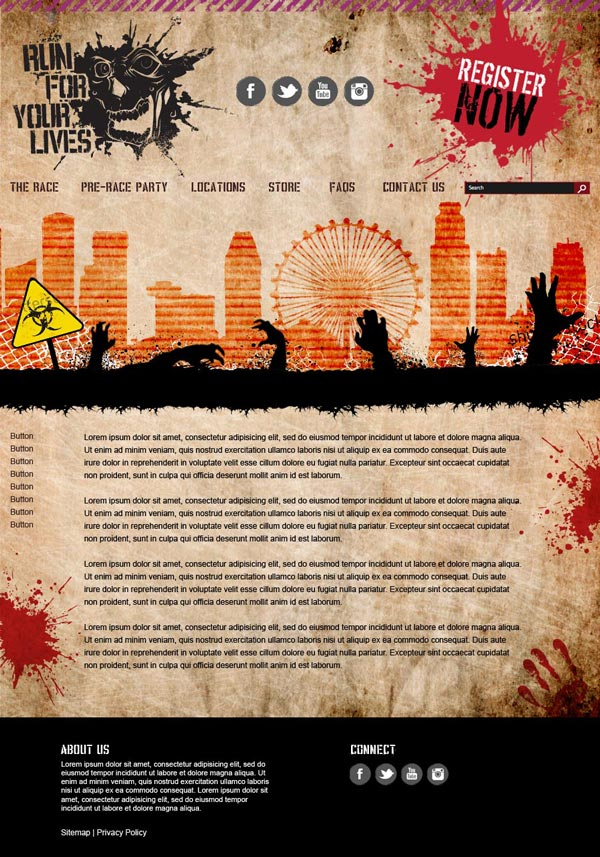 Run for Your Lives website design