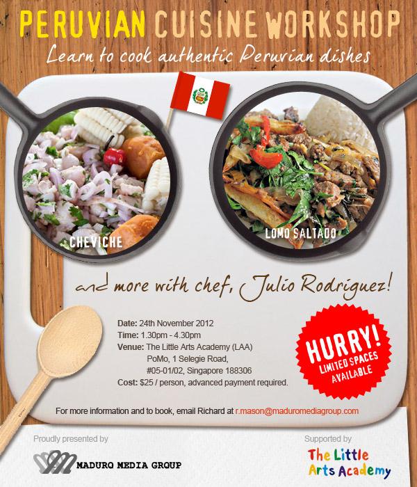 Peruvian cooking workshop banner