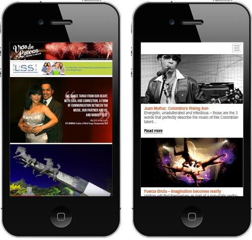 Vida De Latinos site - mobile responsive