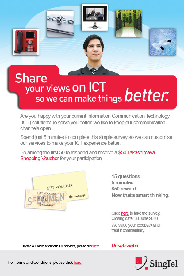SingTel Survey Monkey newsletter